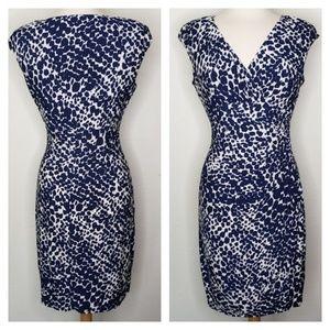 Ralph Lauren Navy Blue Dotted Fitted Dress